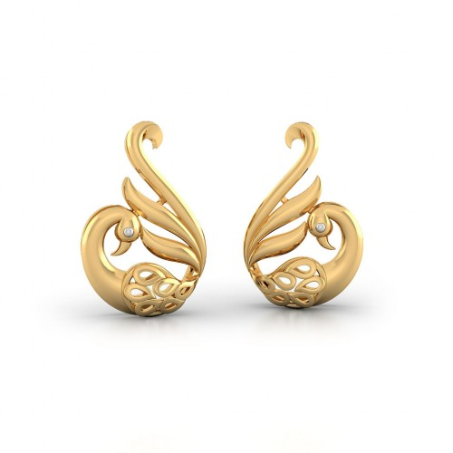 Peafowl Gold Earring