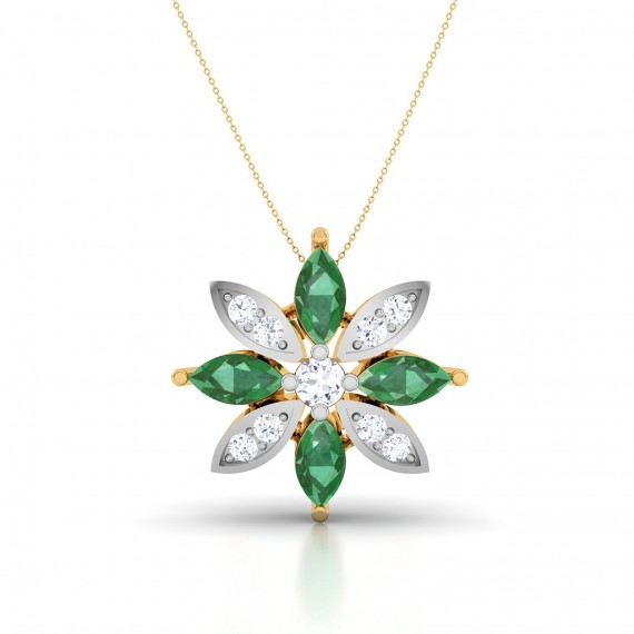 Emerald Stone Diamond Pendant