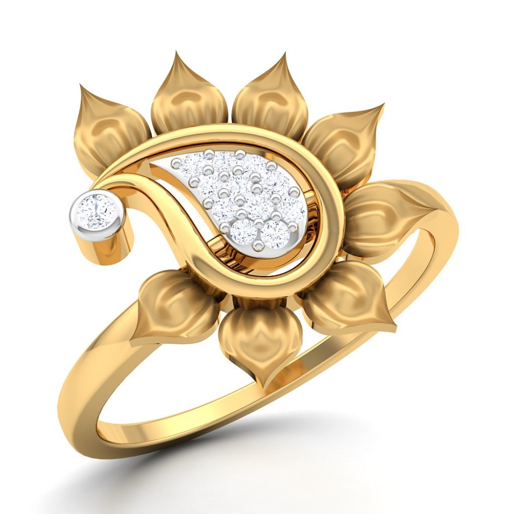 Diamond Studded Paisley Bud Gold Ring