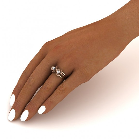 Clover Leaf Twin Diamond Ring
