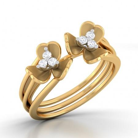Clover Leaf Twin Diamond Ring