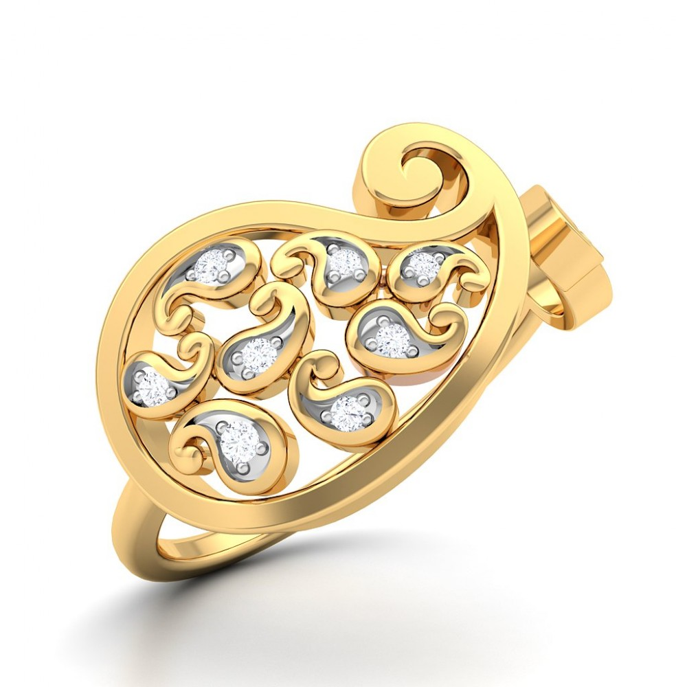 Cluster Of Paisley Diamond Ring