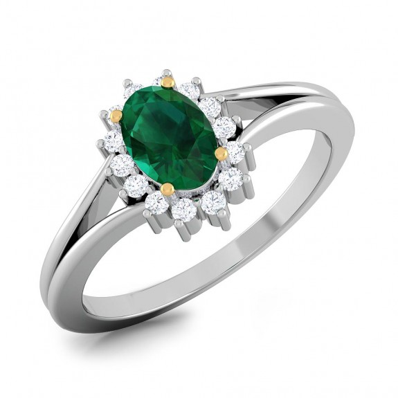 Emerald Halo Prong Ring