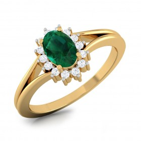 Emerald Halo Prong Ring
