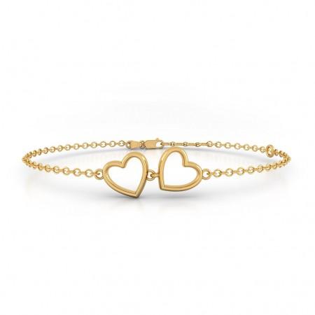 Twin Heart Gold Bracelet