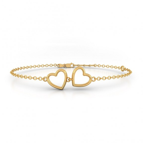 Twin Heart Gold Bracelet