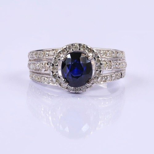Sapphire and diamond statement ring