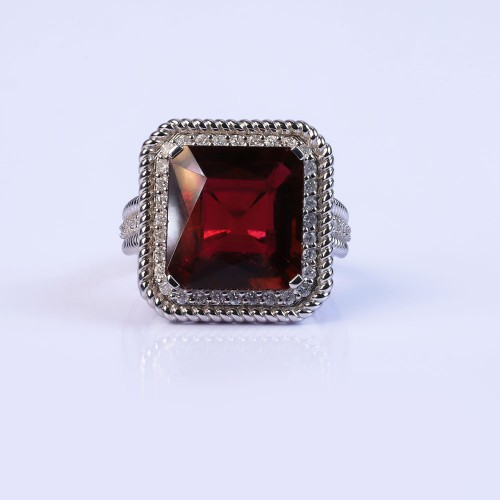 Deep red statement ring