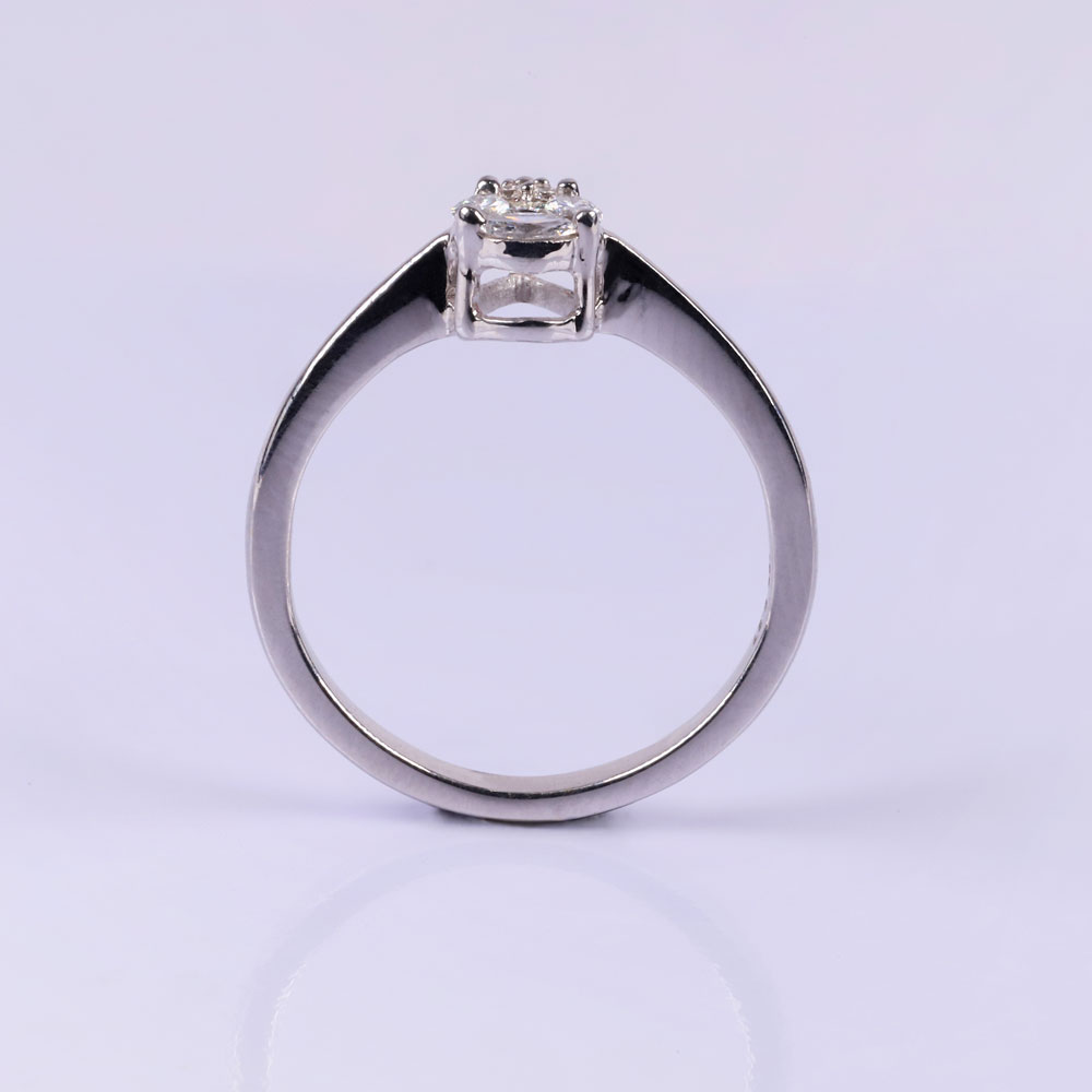 Pear diamond silver ring