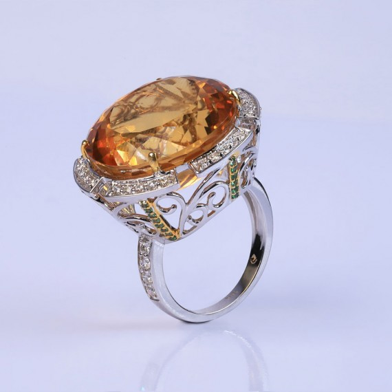 Deep flower gemstone ring