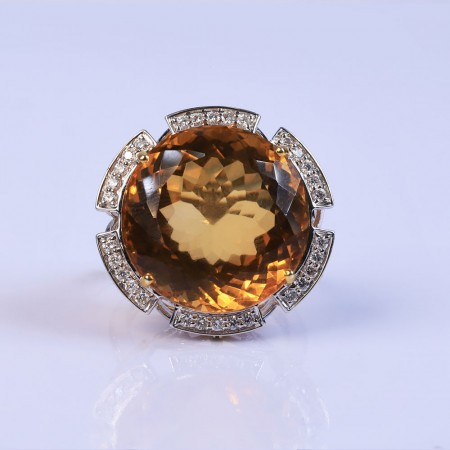 Deep flower gemstone ring