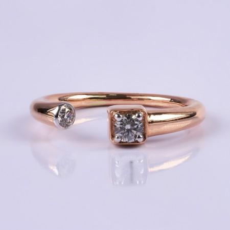 Minimal rosegold diamomd ring