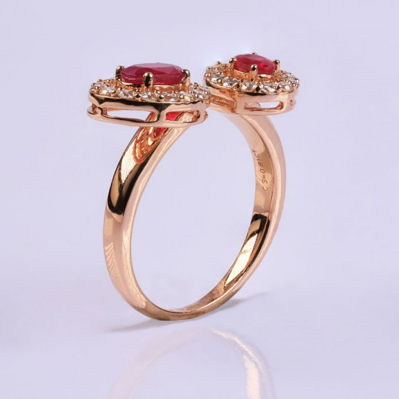 Double ruby diamond ring