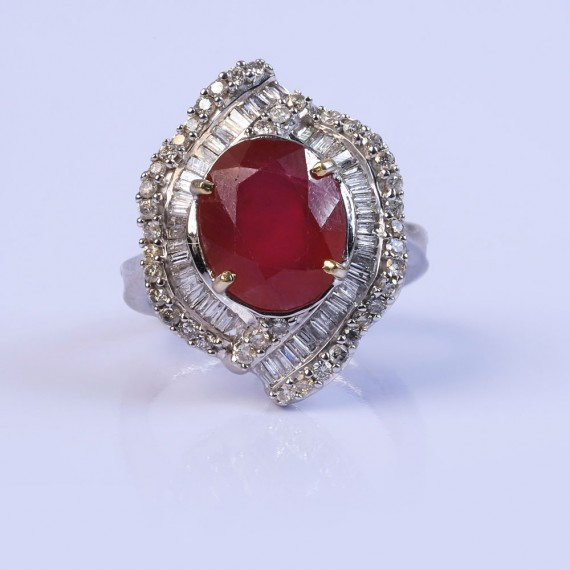 Deep red cocktail ring